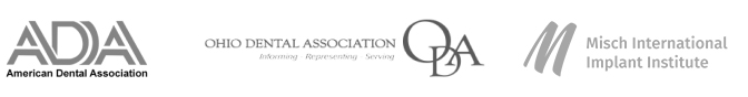 professional certification logos for ADA, Ohio Dental Association, and ALD