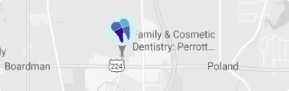mobile map showing the location of Perrott Dentistry